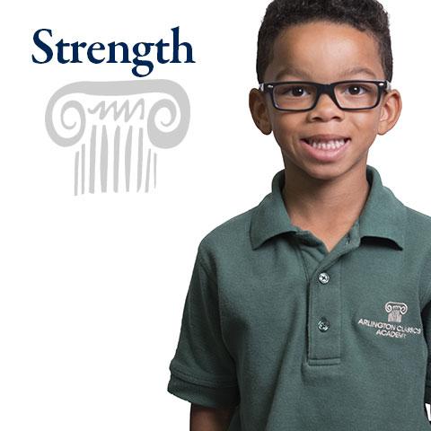 Strength is one of the four pillars in an Arlington Classics Academy education