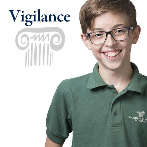Vigilance is one of the four pillars in an Arlington Classics Academy education